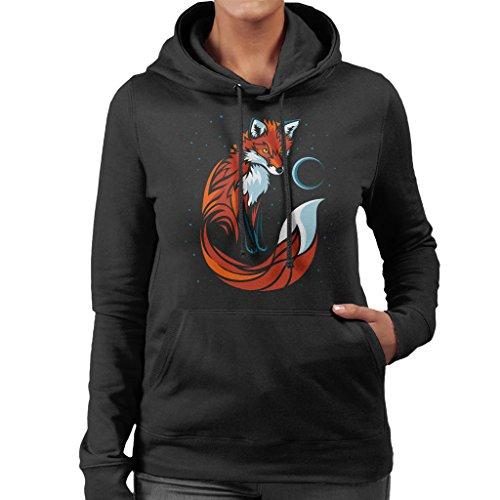 Tribal Stars Fox Women's Hooded Sweatshirt Black
