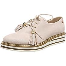 Moonwalker Zapatos Oxfords de Cuero Genuino con Cordones para Mujer( EUR 34,Blanco)