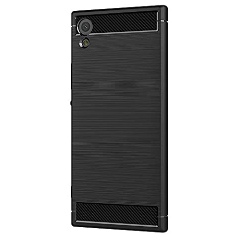 Sony Xperia XA1 Coque, Ferlinso Flexible Rugged Armour Hybrid Defender Housse de protection contre les chocs Housse de protection en fibre de carbone avec [Protection écran] pour Sony Xperia XA1 (Noir)