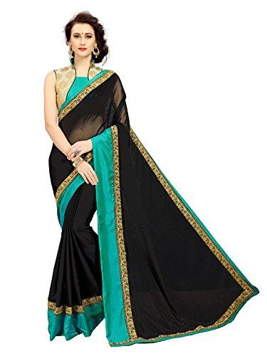 Black And Firoji Colored Embroidered Satin Chiffon Saree