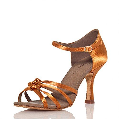 YFF Regalo donne danza scarpe ballo latino ballo tango danza scarpe 8cm Bronze