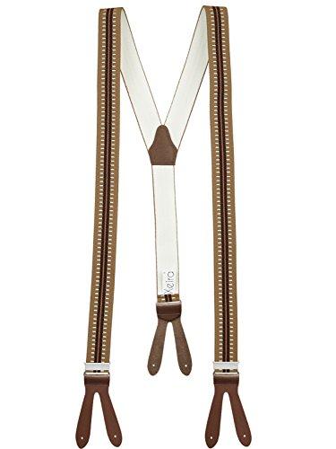 Hochwertige Hosenträger mit Lederriemen - Verfügbar in vielen Gestreiften / Punkte Design - Made in Germany (Classic Braun - 334)