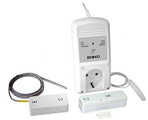 BROKO Funk-Sicherheits-Abluftsteuerung BL220FAT(SG)-System mit Außenantenne und Temperaturfühler/Funkschalter/Antenne/Temperaturfühler/Dunstabzugshaubensteuerung
