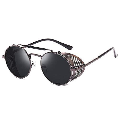 HETAIDA Sonnenbrille, runde Metallrahmen Polarisierte UV400 Schutzbrille, Retro Steampunk für Männer und Frauen (Gun-color)