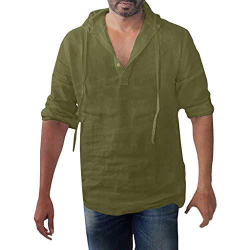 en Leinen Bluse Freizeithemden Tops,Herren Baggy Baumwolle Leinen Solid Button Plus Size Langarm Kapuzen Shirts Tops ()
