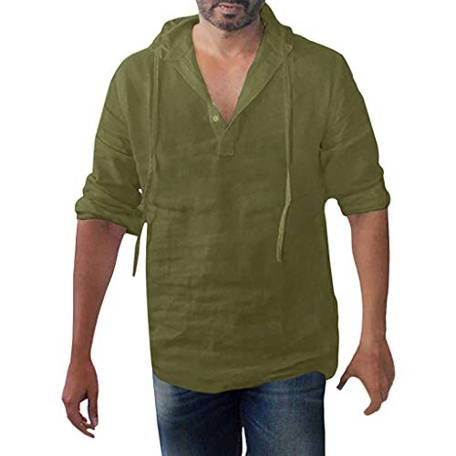 Button Up Shirt Jeans (Strungten Gestreiftes, langärmliges Kapuzenhemd aus Baumwolle und Leinen Mit Kapuze T-Shirts Herren Leinen Shirts Button Up Tops Baumwolle Blusen Langarm Herren Langarm Leinenhemd Shirt Daily)