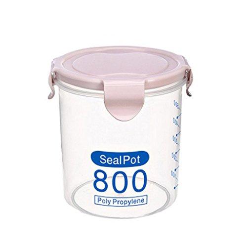 spirworchlan klar Kunststoff Frischhaltedosen Jar Flasche mit Deckel, Tee Kaffee Zucker Kanister, plastik, Zufällige Farbauswahl, 800 ml