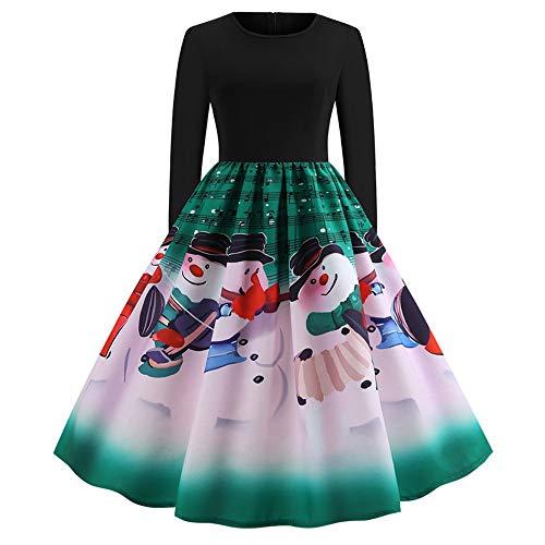 OverDose Damen Frohe Weihnachten Stil Frauen Vintage Print Langarm Weihnachten Abend Party Cosplay Elegante Slim Swing Kleid Geschenk(X-A-Grün,2XL)