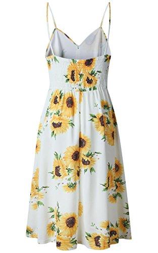 Angashion Damen V Ausschnitt Spaghetti Buegel Blumen Sommerkleid Elegant Vintage Cocktailkleid Kleider Gelb