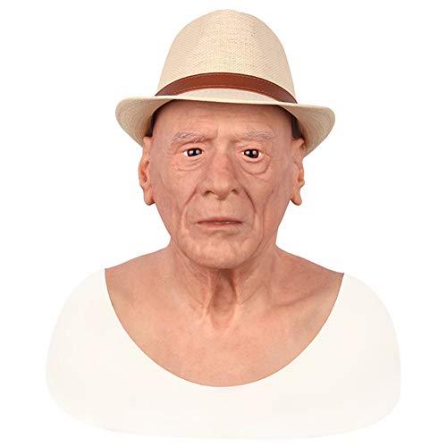 HSNC Crossdresser Cosplay Alter Mann Maske Sexy Bart Silikon Maskerade Weiblichen Kopf Handgemachte Make-Up Transgender Erwachsene Masken Für Halloween