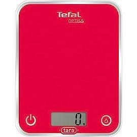 Tefal BC5003 Optiss Glass Bilancia da Cucina Elettronica, Acciaio, Rosso