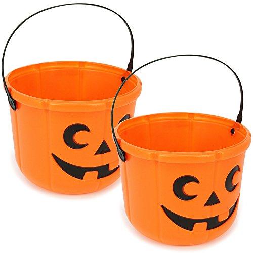 een Körbe, Kürbis Eimer zum Sammeln von Süßigkeiten zu Halloween, 14 cm hoch, Ø 18 cm (02 Stück - 14x18 cm) (Halloween-korb)