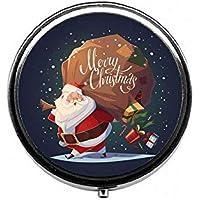 LinJxLee Santa Gift Portable Round Pill Case Pill Box Medicine Box Medicine Tablet Vitamin Organizer for Purse... preisvergleich bei billige-tabletten.eu