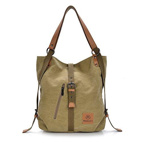 MEKEET Damen Rucksack Handtaschen Geldbeutel Multifunktionale Umhängetasche 3 in 1 Verformbar Tote Bag gewaschen Ledertasche