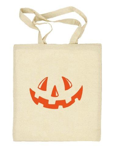Shirtstreet24, Halloween - Kürbis Gesicht, Kostüm Pumpkin Stoffbeutel Jute Tasche Natur