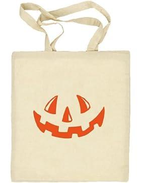 Shirtstreet24, Halloween - Kürbis Gesicht, Kostüm Pumpkin Stoffbeutel Jute Tasche