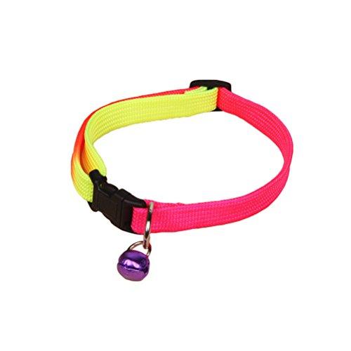 UKCOCO Katzenhalsband Hunde Halsband mit Glocke, Regenbogen Halsbänder Personalisiert für Katzen oder Hunde, Sicherheit Release abtrünnigen Schnalle (Zufällige Farbe) (Glocke Katze Halsband Mit Personalisierte)