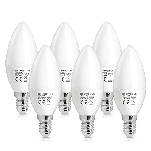 SHINE HAI E14 LED Candle Bulbs 4.5W, 40W Incandescent Bulbs Equivalent, C37, 3000K Warm White Frosted Candelabra E14 SES Bulbs, Non-Dimmable, 350Lm, Small Edison Screw Candle Light Bulbs, 6-Pack