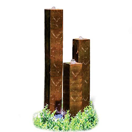 """Köhko® Wasserspiel aus Cortenstahl mit LED-Beleuchtung """"Brasilien"""" 31001 Höhe 65-95-125 cm Gartenbrunnen"""