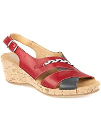 3d97c203cc35 ... Women s Shoes   Pavers Shoes. Fly Flot Mid-Heel Cork Wedge Sandal with  Peep Toe 126 558 - Red-