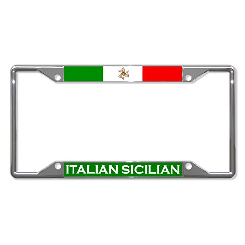 Italienische sizilianische Flagge, ländliches Metall, für Nummernschilder, 4 Löcher, perfekt für Männer und Frauen, Auto-Garadge Dekor