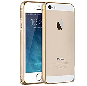 CRONUS Arc Edge Dual Tone Gold Lined Metal Bumper Case Cover for iPhone 5 / 5S - Champange Gold
