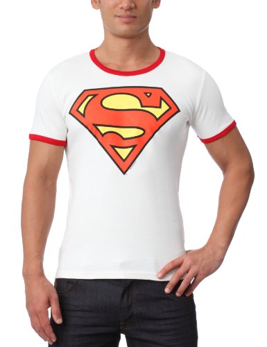 DC Comics - Superman Logo Rundhals T-Shirt - altweiß - Original Marke Traktor, Größe XXL