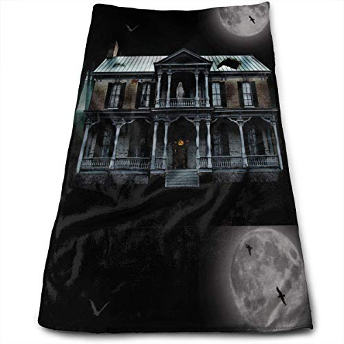 ween Ghosts Moon Graves Bats Multipurpose Soft Highly Absorbent Cotton Hand Towels Quick Dry for Daily Use 30cm X 70cm ()