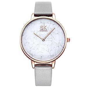 Alienwork Damen-Armbanduhr Quarz Rose-Gold mit Lederarmband Ultra-flach