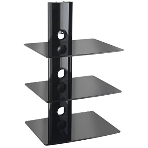 VonHaus 3 x Floating Black Glass Shelves Mount Bracket for DVD/Blu-Ray Player, Satellite/Cable Box, Games