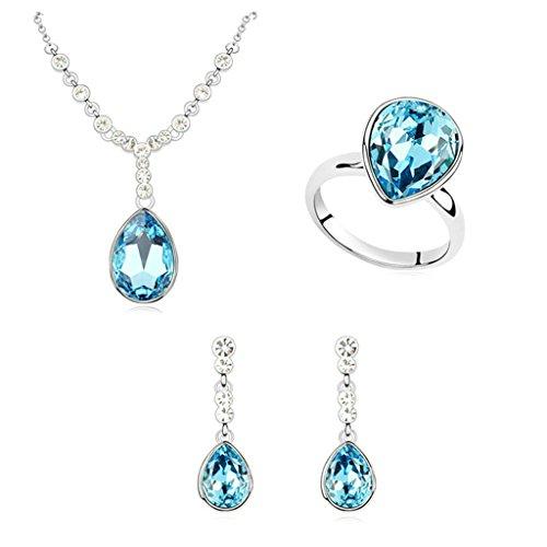 Aooaz Femmes Alliage Bijoux Parures Goutte Attrayant Anneau Bague Boucles d'oreilles Collier Décoration Mariage Bleu Marine