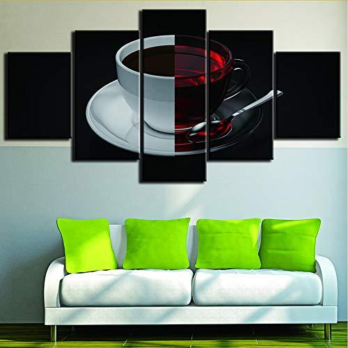 Rureng Wandmalerei Kunst Poster Hd Gedruckt Moderne 5 Panel Tasse Hälfte Porzellan Und Glas Leinwand Wohnzimmer Wohnkultur Bilder-10X15 / 20 / 25Cm - Porzellan-panel