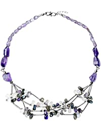 Franki Baker Designer Collection: Amethyst, Moonstone, Labradorite and Silver Chunky Necklace