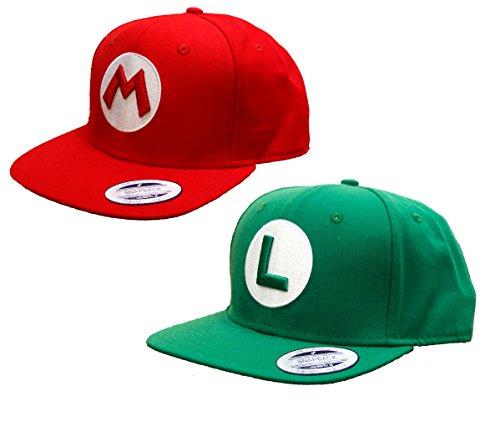 ASVP Shop - Rot Super Mario und Grün Luigi Snapback - Super Frauen Kostüm