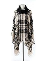 Mujeres moda gran engrosamiento cuello manta bufanda abrigo Poncho chal capa con borlas acogedor imitación Cachemira 130 * 130cm , Black White
