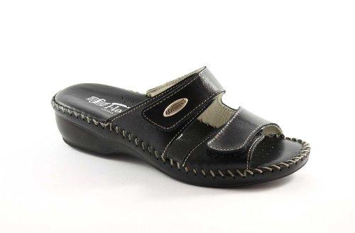 FLORANCE 22590 nero scarpe donna ciabatte pelle strappi comfort 38