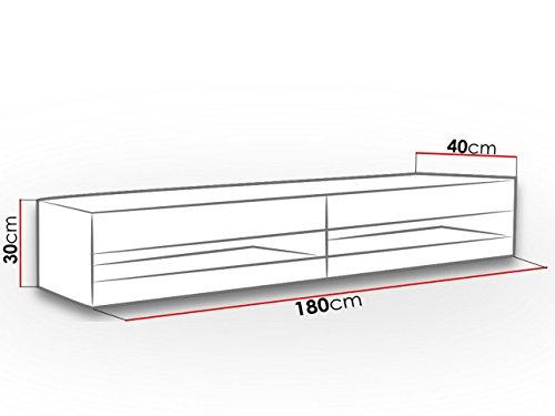 TV Lowboard Vigo New 180 cm, TV Tische, TV Schrank, Fernsehschrank, Hängeschrank, Hochglanz (mit blauer LED Beleuchtung, Weiß / Weiß Hochglanz) - 4