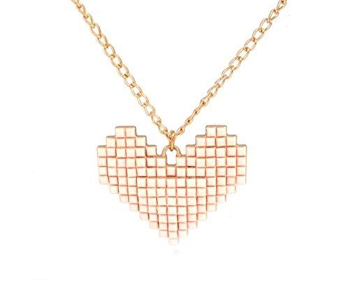 8Bit Pixelated Heart Pink Anhänger Halskette mit einem Gold Ton Lange Kette (in Organza Tasche)