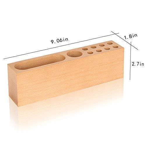 Schreibtisch-Aufbewahrungsbox aus massivem Holz, Stifthalter für Bürobedarf, Handyhalter, Holzstifhalter, 10 Steckplätze, Büro, Wohnzimmer, Dusche und Küche