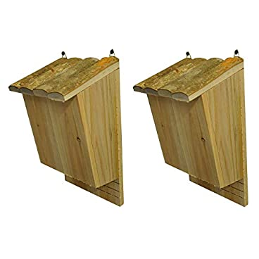 Selections Set of 2 Large Wooden Bat Nesting Roosting Boxes