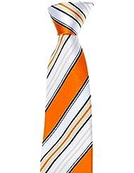 Krawatte von Mailando, Streifendesign, orange- weiss