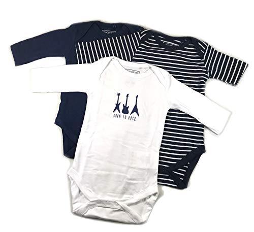 Ventilkappenkönig Baby Bio Baumwolle Body Pyjama Strampler Kleinkind Neugeborene 1er 2er 3er Sets für 0-24 Monate (3er Body Blau Weiß Lang, 50-56)