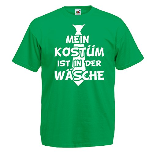 T-Shirt MEIN KOSTÜM IST IN DER WÄSCHE mit Krawatte Karneval Fasching Verkleidung Grün (Druck Weiß) XL (T-shirt Lustiges Grünes)