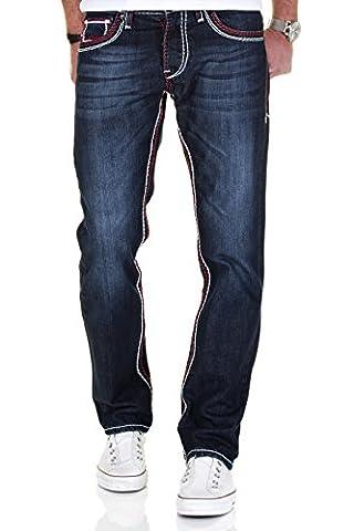 Merish Jeans Herren Straight Fit Kontrastnaht Dicke Naht Neon Neu Denim J9575 Dunkelblau-Rot 31-32