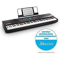 Alesis Recital Pro - Digital Piano / E Klavier mit 88 Hammer-Action-Tasten, 12 Premium-Voices, zwei integrierten 20 Watt Lautsprechern, Kopfhörerausgang und 3-Monatsabo für Skoove Onlineunterricht