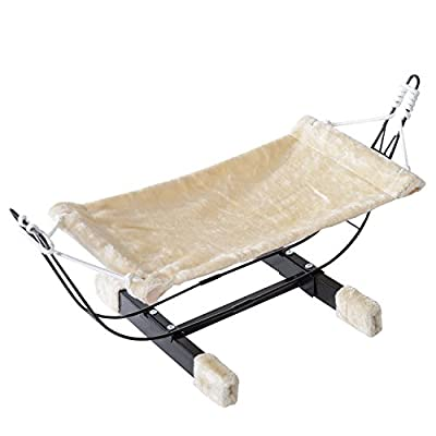 PawHut Hanging Cat Hammock Swing Bed Pet Kitty Puppy Relaxing Sleeping Soft Cosy Raised Relax Nest Cushion Metal Frame 70Lx34Wx31H(cm)