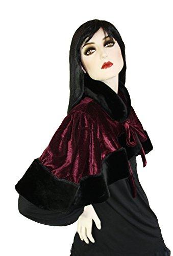 Gothic Steampunk Victorian velluto mantello pelliccia sintetica secolo in nero verde o bordeaux bordaux (ähnlich violett) Taglia unica