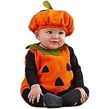 Disfraz Calabaza Bebe Halloween,Unisex Niños Disfraces de Halloween Carnaval Cosplay 3PC