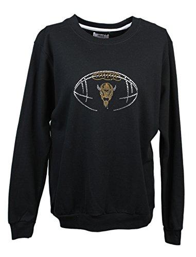 Nitro USA Damen Schnitt Sweatshirt mit Strass & Metallic Marco Skelett foootball, damen, schwarz