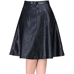 Helan Mujeres PU de cuero largo faldas plisadas